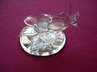 Clear Glass Hummingbird With  L.yellow  Flower On  Mirrored Glass Base Figurine