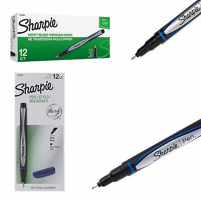 Quick Dry Sharpie Grip Pens Fine Point Blue 12 Count Neat Page Precise Soft NEW