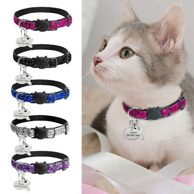 "3/8"" Wide Sequins Safety Breakaway Cat Collar With Bell Custom Personalized Tag"