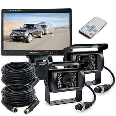 "2x IR Rear View Back up Camera Night Vision + 7"" Monitor For Truck RV Car 12-24V"