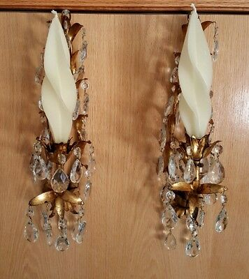 2 Antique Italian Wall Chandelier Sconces W/ Brass Leaves with Crystal Pendants