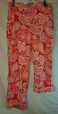 VERA BRADLEY S Pants Raspberry Fizz Lounge Roll Up Button Drawstring Pink Red