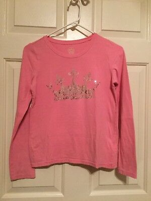Faded Glory Girls Pink Silver Sequin Crown Long Sleeve Shirt Size XL 14-16