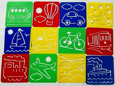 Plastic Stencil- Transport (1 set in 12 different designs) for home, school, etc