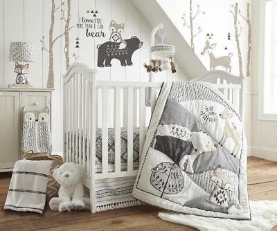 Levtex Baby Bailey Charcoal and White Woodland Themed 5 Piece Crib Bedding Set