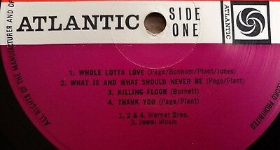 Led Zeppelin LP 2 UK Atlantic plum press Killing floor credit A5 B6 NICE COVER