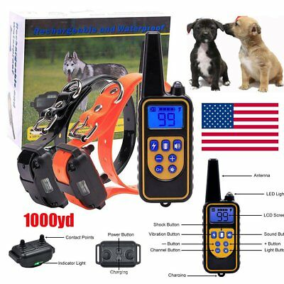 Rechargeable Electric Remote Dog Training Shock Collar 1000 Yard Waterproof LCD