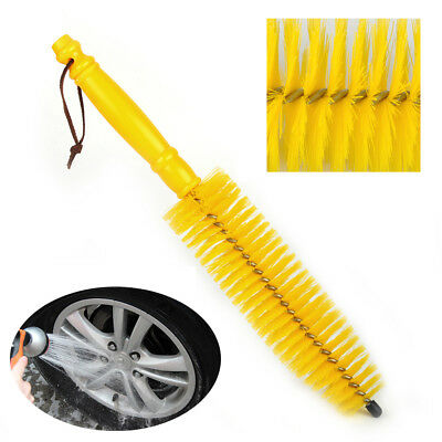 Yellow Vehicle Car Alloy Wheel Tire Rim Brush Wash Cleaner Tyre Cleaning Brushes