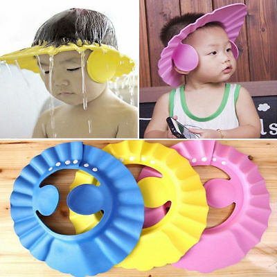 Adjustable Baby Shower Cap Bathing Visor Wash Hair Shield Hat With Ear Cover