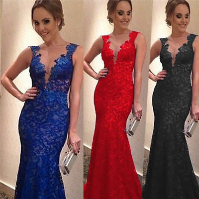 Womens Ladies Lace Backless Sleeveless Long Dress Prom Cocktail Ball Dress