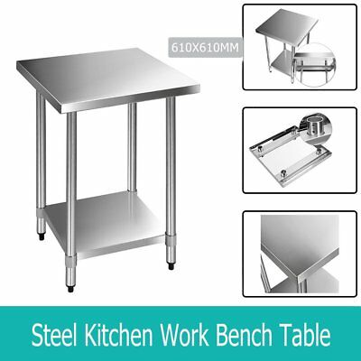 610x610mm Commercial 430 Stainless Steel Kitchen Work Bench Food Prep Table Top