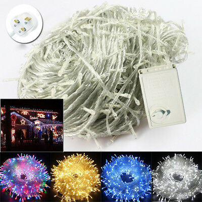 30-100M LED Mains Plug In String Fairy Lights 8Function Garden Xmas Tree Outdoor