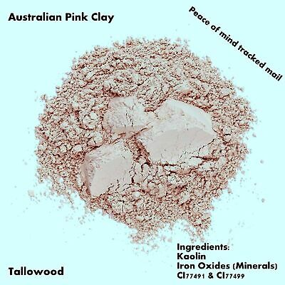 100% Pure Organic Australian Pastel Pink Clay Face Mask/Body Wrap, Free Shipping