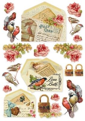 1 Blatt DIN A4 Decoupage Reispapier DFSA4035 Postcards and birds