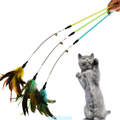 1* Funny Pet Cat Toy Feather Bell Spring Wand Teaser Rod Bead Kitten Toys Latest