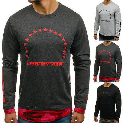 BOLF Mens Sweatshirt Pullover Sweater Crew Neck Sport Print Logo 1A1 Graphic