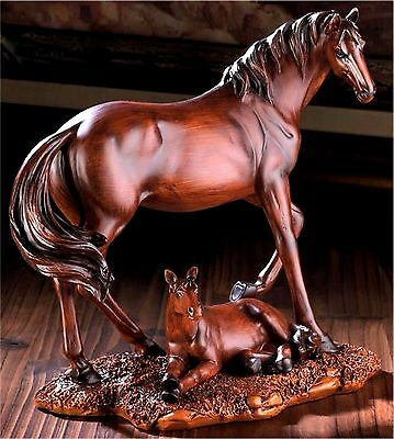 Mother And Foal Stallion Horse Statue Figurine Sculpture ** Nib