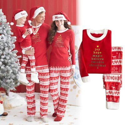 Christmas Family Pyjamas Set Kid Adult Sleepwear Homewear Leisure Clothes LOT I5