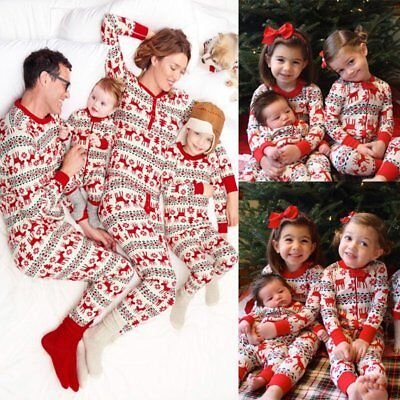 Family Christmas Pajamas Set Mom Dad Kid Baby Stripe Sleepwear Nightwear LOT I5