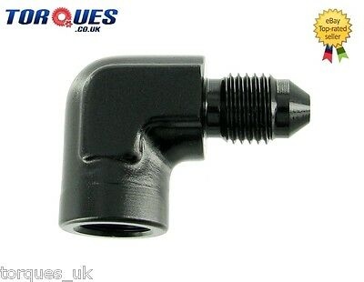 "AN -3 (AN3) to 1/8"" NPT Female 90 DEGREE Gauge Take Off Adapter BLACK"