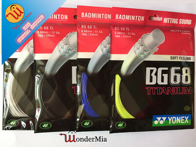 [Max 34lbs] Authentic YY BG68Ti Titanium 0.68mm Badminton String 10m (4 COLOR)CA