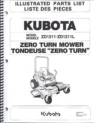 kubota zd1211 zd1211l zero turn mower illustrated parts manual 97898 rh picclick com kubota zero turn mower service manual kubota zero turn mower owner's manual