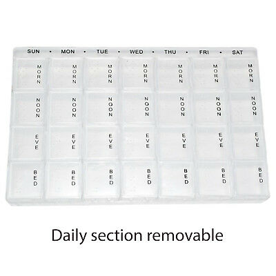Large Weekly Pill Organiser 28 Compartments for 4 Daily Doses 7 Days a Week