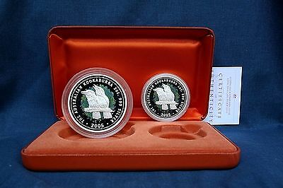 2005 Australia Kookaburra 1 Oz.- 2 Oz. Proof Set  * Rare *