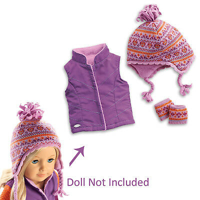 """American Girl TRULY ME WARM WINTER ACCESSORIES for 18"""" Dolls Hat Gloves Vest NEW"""