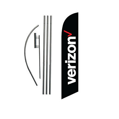 NEW Verizon Wireless (black) Feather Banner Swooper Flag Kit with pole+spike