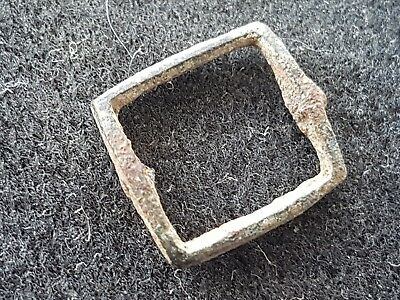 Very nice tiny Medieval bronze buckle uncleaned condition found in Britain L40r