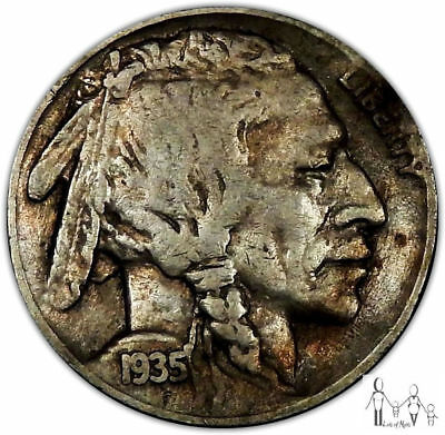 1935 D Very Fine VF Indian Head Buffalo Nickel 5c US Coin b14