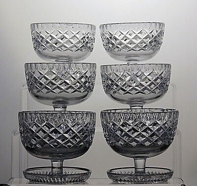 Irish Crystal Cut Glass Heavy Footed Dessert Dishes Ice Cream Bowls set of 6