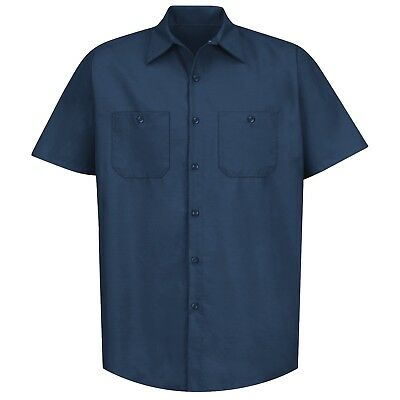 Red Kap Mens Short Sleeve Industrial Work Shirt - Navy