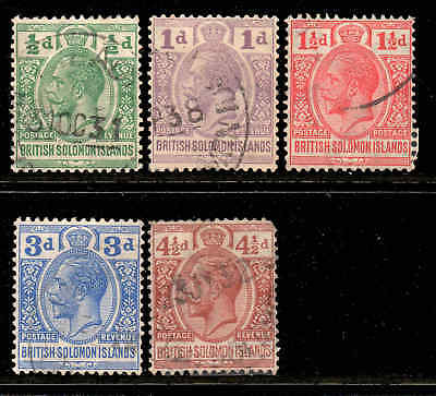 Solomon Islands 1922 KGV p/set (5v.) wmk MSCA used CV £35