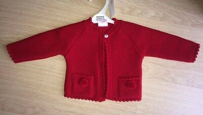 Girls/ Boys Knitted Red Pom Pom Cardigan by Pex