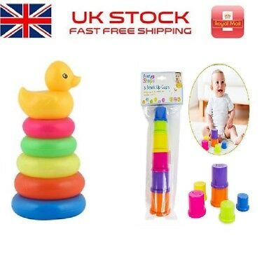 Fun Time 9 Stacking Leaning Cups Baby Toy Perfect Gift Present ideal 12 Months+