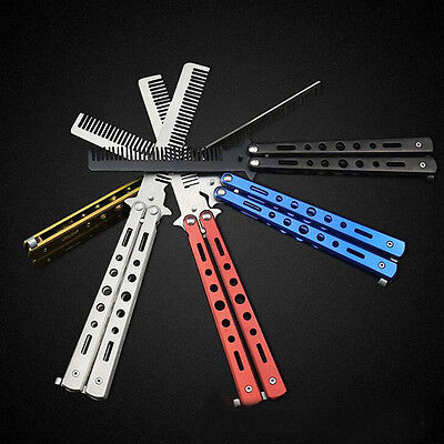 Training Sport Stainless Colorful Butterfly  Comb Tool Folding Comb Knife E3