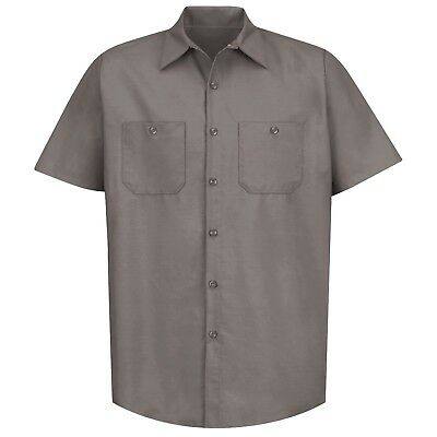 Red Kap Mens Short Sleeve Industrial Work Shirt - Gray