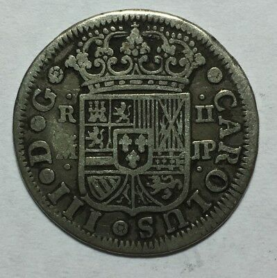 SPAIN 1760 MJP 2 REALES Silver Coin