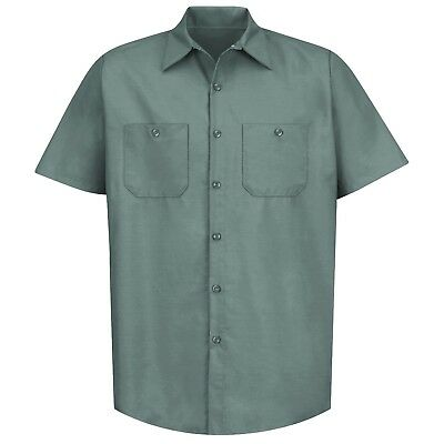 Red Kap Mens Short Sleeve Industrial Work Shirt - Light Green