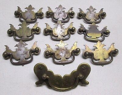 Lot of 10 Vintage Brass Chippendale Drawer Pulls Antique