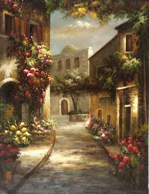 Tuscany Village Italy, 36x48 100% Hand painted Oil Painting on Canvas