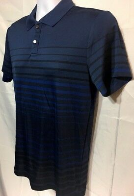 7d6a079dd ALFANI Men s Short Sleeve Snap On Blue Navy black Striped Polo Shirt Size S