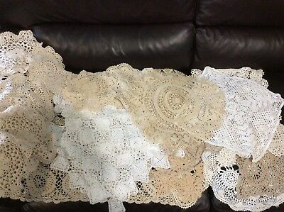 Vintage Lot of 50 crochet lace handmade cotton doilies