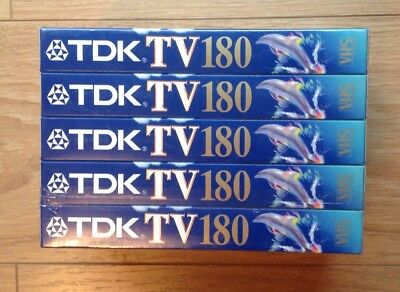 TDK TV 5 pack 3hr 180 VHS tapes new sealed plus new sealed Memorex 3hr tape