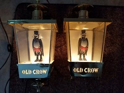 Vintage Pair of 1960s Old Crow Whiskey Wall Lamps Advertising Back Bar Working