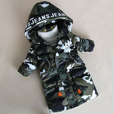 Boys kids warm winter camouflage padded parka jacket Hooded Quilted Coat D014