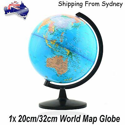 20cm/32cm World Globe Map Blue Ocean Swivel Stand Geography Educational Toy Gift