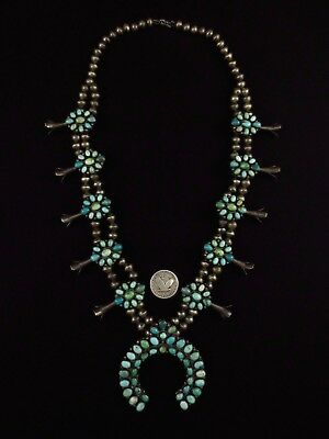 Navajo Squash Blossom Necklace - Coin Silver and Turquoise